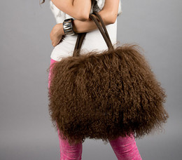 Wholesale New large real long lamb fur mongolian fur bag handbag on sale multi colors
