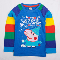 Boy Spring / Autumn Standard A4553#Nova 2014 new boys autumn wear clothes top quality 18m-6y kids cartoon tunic peppa pig long colorful sleeve baby cool tops