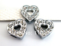Wholesale 8mm full rhinestones heart slide charms fit for mm wristbands wristbands pet collars and keychains