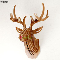 Wholesale Deer Head of animal for interior home decoration DIY wooden craft for children novelty items wall decor mdf decorative wall hanging carving