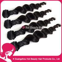 Wholesale 4pcs Human Hair Weave Virgin Malaysian Loose Wave amp Natural Wave Hair Extensions g pc Natural Black