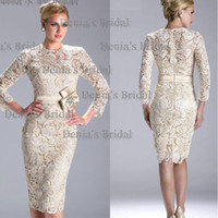 Reference Images beaded bows - 2016 Janique N3396 New Arrival Quarter Sleeve Jewel Neckline Lace Cocktail Dress Mother of The Bride Dresses with Beaded Dhyz