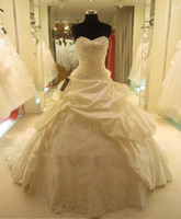 Wholesale 2014 Hot Sale Sexy Church Wedding Dresses Ball Gown Cathedral Train Satin Applique Ruffled Sheer Bridal Gowns Dress for Bride Lace Up Custom