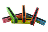 Wholesale 40pcs Wooden Harmonica Kids Musical Instrument Educational Craft Toy Fully Function mixed