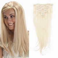 Wholesale 100 Human Clip on Hair g Brazilian Remy Straight Hair Clip in Hair Extensions Platinum Blonde Long inch DHL