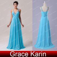 Real Photos dress blue grace - Grace Karin Sexy Deep V neck Floor Length A Line Chiffon Evening Gowns Beaded Prom Dresses Sky Blue CL6040