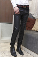 designer casual jeans - 2014 Spring and winter New Men Leather jeans Skinny Fashion casual jeans Black Slim fit Korean Designer PU leather Jeans