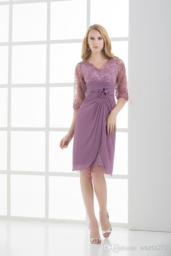 Spring 2013 lace v neck 3 4 sleeve mother of bride dress for 3 4 sleeve wedding guest dress