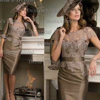 Reference Images 2014 Sheer Bridal Jacket - 2014 Bridal Jacke Sexy Sheer Neckline Short Sleeves Taffeta Knee Length Soft Satin Mother Of The Bride Dresses With Jackets Dhyz