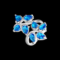 Wholesale Sterling Silver jewerly Blue topaz gemstone silver rings stamp jewelry LR360