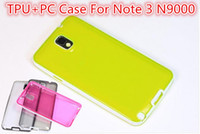 For Samsung TPU Wholesale For Samsung Galaxy N9000 Note 3 Clear Color TPU Case Cover With PC Plastic Shell Frame Free Shipping VIA 10pcs 20pcs 30pcs