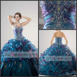 Wholesale 2014 Colorful Quinceanera Dresses Spaghetti Straps Organza Applique Beads Ball Gown Tiered Evening Dresses QC26644