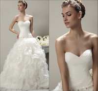 Wholesale NEW Classic Style White Sweetheart Organza Puffy Ball Gown with Ruffle Detail Beaded Belt Pleated Wedding Dresses Bridal Gown BRI307
