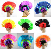 Wholesale New Party Wigs The Mohawk Punk Hair Style Football Fan Halloween Party Wigs Multi Color SNB W001
