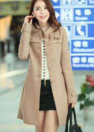 Wholesale winter stand collar Long sleeve single breasted self cultivation women wool coat trench coat long pattern