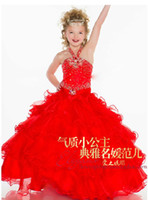 Red Satin Organza Halter with Beadings Crystal Party Time Fl...