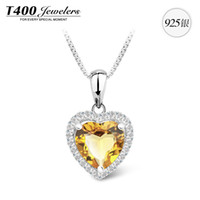 Pendant Necklaces Women's Fashion T400 brand jewelry,made with Top Natural Citrine,women,925 sterling silver,November Birthstone,Heart shape#10600,free shipping