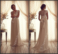 Wholesale 2014 Sexy Popular Lace Beaded Cap Sleeves Sheer Back Bridal Gowns Fashion Wedding Dresses With Bow Back Bn010