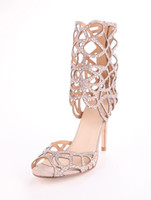 Wholesale Sexy Apricot Sheepskin Suede Rhinestone Hollow Out Women s Gladiator Shoes wedges r53 u13 LF6