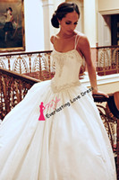 Cheap Free Shipping Spaghetti Straps Embroider beaded neck and hip line Crystals Pin Up Wedding Dresses Sexy Bridal Gown vestidos de novia