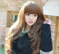 good quality wigs - Good Quality New Fashion Womens Girls Natural Wavy Curly Long Hair Human Full Wigs With Bang L500