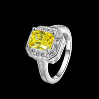 925 sterling silver gold yellow stone finger Rings R0461