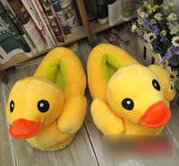 Wholesale autumn and winter doll home plush floor slippers little duck thermal cotton padded slippers