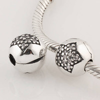 Wholesale New Arrival Big Star Sterling Silver Lock Clip Stopper Beads with Cz Rhinestone Crystal use For Pandora Bracelet DIY KT067 N