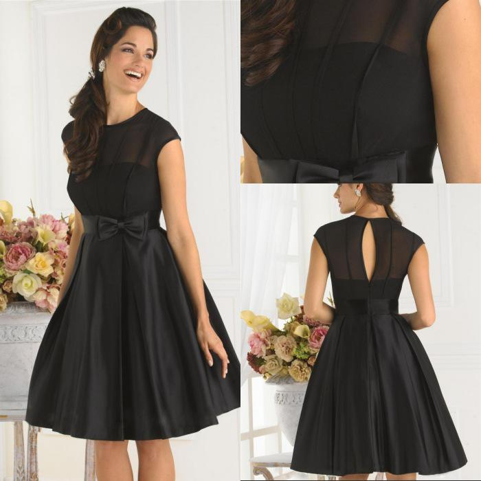 Simple Cheap Black Cocktail Dress A-line Jewel Cap Sleeves Knee ...