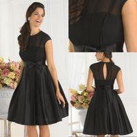 Wholesale Simple Cheap Black Cocktail Dress A line Jewel Cap Sleeves Knee Length Bow Satin Party Dresses Short Bridesmaid Dresses