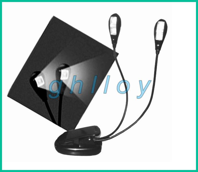 Book Light Clip Dual 2 Arm 4 LED Flexible Stand Portable Lamp Light Light, Read