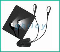 Clip livre de lumière à double bras 2 4 LED stand flexible pour ordinateur portable Lampe LED Light Book , Lire lumière 20pcs / lot