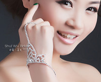 Wholesale 2014 Popular Hot Sell Sparkle Rhinestone Party Prom Wedding Bridal Jewelry Bridal Accessory Bracelet with Ring