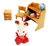 Wholesale New Chocolate Rabbit Sister amp Desk Sylvanian Families Toy Doll Furniture Toy Set Pretend Play Toy For Kid