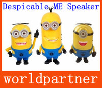 Wholesale Promotion Despicable Me Mini USB Loud Speaker Micro SD TF Card USB Disk Amplifier Computer Tablet PC Soundbox MP3 MP4 Music Player