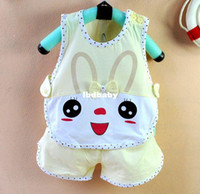 Wholesale Baby summer baby sleeveless set rabbit vest trousers piece set newborn cotton set