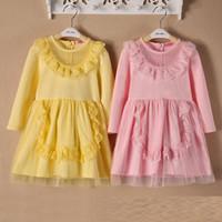 Wholesale 2014 new Korean chiild baby girls long sleeved cotton aprons dress princess dress e0001