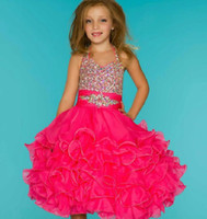 Halter with Beadings Crystal Party Time Flower Girl Dresses ...