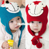Wholesale Frog hat child winter thermal hair ball ear protector cap lei feng cap cartoon knitted hat