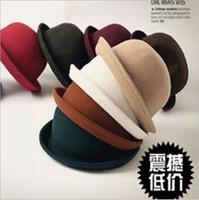 Wholesale 2012 Women s Wool Bowler Hat Elegant Women Bowler Hats Fashion Retro Hat Color Haute Party Hat Korean Stlye Wool Hat AAA