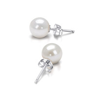 Wholesale HANAZO Pure natural freshwater Round pearls earrings simple paragraph