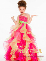 One Shoulder Beadings Ruffled Organza Girls Pageant Dresses ...