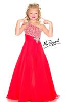 Wholesale Best selling Rhinestones Beaded A Line Girls Formal Occasion Flower Girl Dresses One Shoulder Girls Pageant Dresses Custom Size