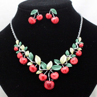 Wholesale 2014new arrival brand very lovely cherry party jewelry sets fashion costume necklace and earrings sets for women