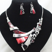 Bracelet,Earrings & Necklace Women's Party fashion designer red wedding jewelry sets high quality costume fancy party necklace and earrings sets for women free shipping