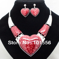 Wholesale brand high quality classic chunky heart jewelry sets fashion wedding costume necklace and earrings sets for women