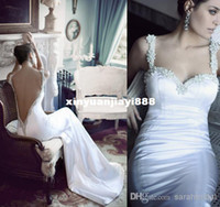 Reference Images Floor-Length Satin Wholesale - Berta Backless Wedding Dresses 2014 New Spaghetti Ruffles Sexy Stain Beaded Crystals Ball Gowns Lace Up Long Bridal Party Dress