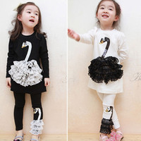 rattan furniture - 2015 Sale Outdoor Rattan Furniture Rattan Chairs Girls Dresses Children Outerwear Black And White Swan Cygnet Suit Long sleeved Dress Gc007