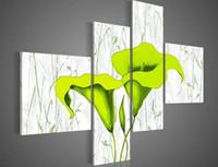 ручная роспись зеленые цветы на белом фоне стены искусства маслом украшения-картины на холсте 4шт / комплект для декора стен
