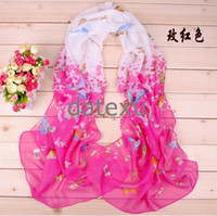 Wholesale Hot selling lady scarf printed chiffon scarves shawls Seven color butterfly flower chiffon printing long scarves